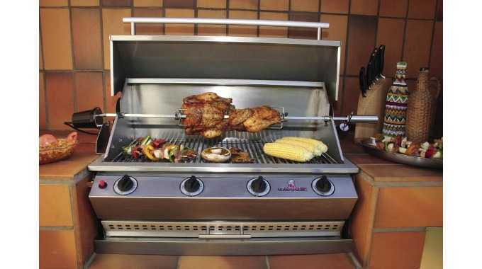 4 burner sizzler grill with rotisserie